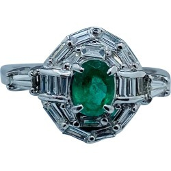 Elegant Intense Green Columbian Emerald And Diamond Platinum Ring found on Bargain Bro Philippines from 1stDibs for $3500.00