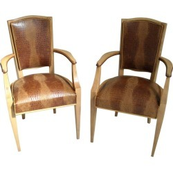 Pair Of 1940 This Side Chairs Birch With Real Leather In Crocodile Print