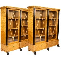 Pair Of Satin Birch Bookcases