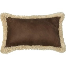 Outback Brown Leather And Shearling Sheepskin Pillow Rectangle Cushion found on Bargain Bro from 1stDibs for USD $158.84