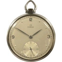 Omega Vintage Steel Cased Pocket Watch found on MODAPINS from 1stDibs for USD $895.00