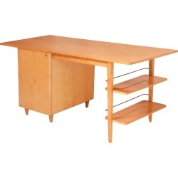 Mid-century Double-sided Executive Birch Desk Imexcotra