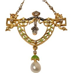 French Art Nouveau Gautrait 18 Karat Enamel Diamond Pearl Necklace found on Bargain Bro Philippines from 1stDibs for $9750.00
