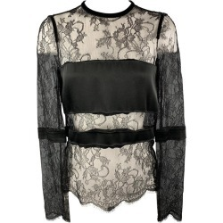 Emanuel Ungaro Size 2 Black Lace Satin Stripe Panel Blouse found on MODAPINS from 1stDibs for USD $151.20