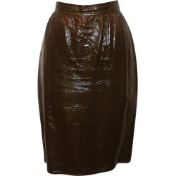 Emanuel Ungaro Vintage Olive Patent Skirt - 10-circa 70's found on MODAPINS from 1stDibs for USD $300.00