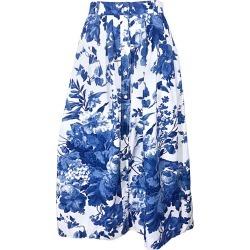 Vintage Ralph Lauren 1990s Blue + White Floral Print 90s Cotton Midi Skirt found on Bargain Bro from 1stDibs for USD $570.00