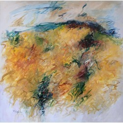 Mary Lou Siefker, Acrylic Painting on Canvas Titled: Frenzy in Yellow found on Bargain Bro Philippines from 1stDibs for $6500.00