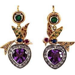 White Diamond Emerald Ruby Sapphire Amethyst Yellow Gold Lever-back Earrings