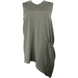 Brunello Cucinelli Grey Silk Sleeveless Blouse Top Size Xl found on MODAPINS from 1stDibs for USD $550.00
