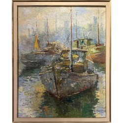 Modern Abstract Painting Of Boats found on Bargain Bro Philippines from 1stDibs for $2950.00