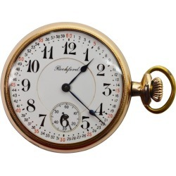 Rockford Watch Co. Railroad Style Pocket Watch With Skeleton Display Back found on MODAPINS from 1stDibs for USD $875.00