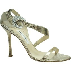 Jimmy Choo Gold Watersnake Sandal W/ Swarovski Buckle - 39 - New/never Worn found on MODAPINS from 1stDibs for USD $525.00