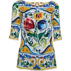 Dolce & Gabbana Multicolor Majolica Print Silk Three Quarter Sleeve Top M found on Bargain Bro India from 1stDibs for $351.00
