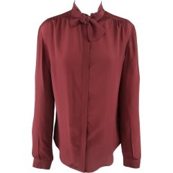 Burberry Prorsum Size 6 Burgundy Silk Bow Collar Blouse found on Bargain Bro from 1stDibs for USD $161.73