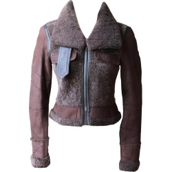 Calvin Klein Cropped Leather Trimmed Shearling Jacket