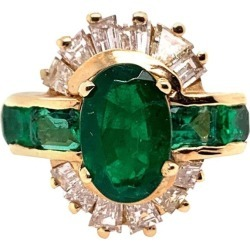 Retro Gold Cocktail Ring 3.1 Carat Natural Emerald Gemstone & Diamond Circa 1950