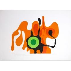 Axel Knipschild, Green Eye - Original Screen Print by A. Knipschild - 1969, 1969