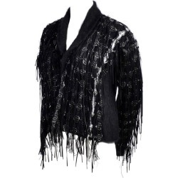Lainey Keogh Ireland Hand Knit Silk Wool Leather Fringe Metallic Sweater Jacket found on MODAPINS from 1stDibs for USD $795.00