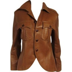 Ralph Lauren Cropped Brown Lamb Leather Canfield Jacket Coat 1990s found on Bargain Bro Philippines from 1stDibs for $650.00