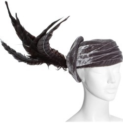 Christian Dior By John Galliano Purple Velvet Pill Box Hat With Feathers found on MODAPINS from 1stDibs for USD $3885.74