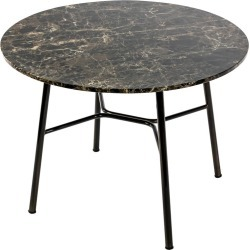 Little Table Yuki, Metal Frame, Round, Brown Color, Design, Coffee Table, Marble