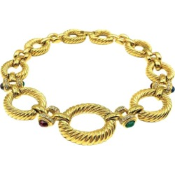 Vintage Givenchy Gold & Cabochon Sapphire Emerald Ruby Glass Jewelled Collar found on Bargain Bro India from 1stDibs for $1248.99