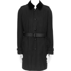 Burberry Prorsum Black Cotton Removable Rabbit Fur Lining Ostrich Belt Trench L found on Bargain Bro India from 1stDibs for $3130.00