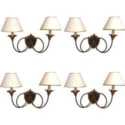 4 Large Neoclassic Art Deco Sconces With Hunting Horn Decor, In Bronze And Maho found on Bargain Bro from 1stDibs for USD $1,396.99