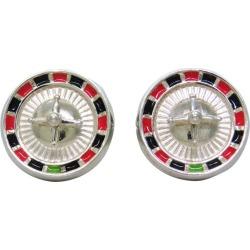 Deakin & Francis Sterling Silver Enamel Casino Roulette Wheel Cufflinks