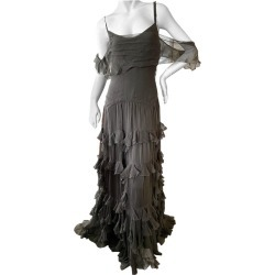 John Galliano Army Green Silk Ruffled Evening Dress With Dramatic Low Back found on MODAPINS from 1stDibs for USD $1400.00