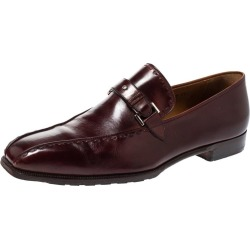 Berluti Bordeaux Leather Vamp Strap And Stitch Detail Slip On Loafers Size 45 found on MODAPINS from 1stDibs for USD $568.00