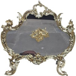 French Brass Cherub And Acanthus Fire Place Screen, Circa 1830