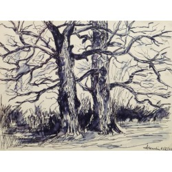 Unknown, French Pen & Ink - Two Trees, 1972 found on Bargain Bro India from 1stDibs for $250.00