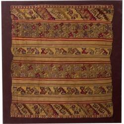 Pre-columbian Chimu Multicolor Banner With Geometric Designs
