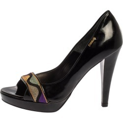 Loriblu Black Patent Leather Embellished Open Toe Pumps Size 37 found on MODAPINS from 1stDibs for USD $480.00