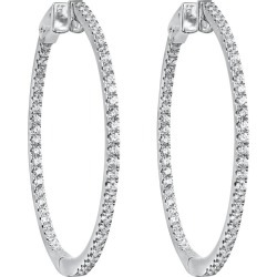 Roman Malakov, 1.51 Carat Round Diamond Pave Hoop Earrings found on Bargain Bro Philippines from 1stDibs for $3700.00