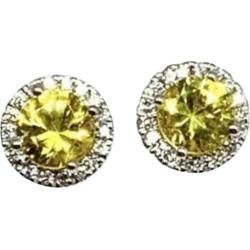 Diamond Sapphire Stud Earrings 18 Karat Gold 1.86 Carat Certified found on Bargain Bro India from 1stDibs for $1106.00