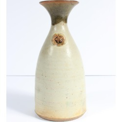 Unknown, Cream-Colored Vase with Flower Detail 1973 Stone Ground Ceramic, 1973 found on Bargain Bro Philippines from 1stDibs for $85.00