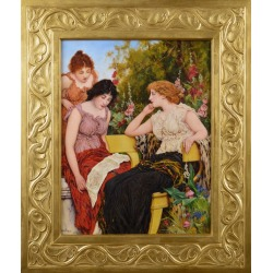 Oliver Rhys, Genre oil painting of three classically dressed women in a garden, 1902 found on Bargain Bro Philippines from 1stDibs for $10367.04