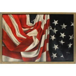 Unknown, Antique American Flag Original Oil Painting Trompe L'Oeil Still Life Patriotic, 1898 found on Bargain Bro Philippines from 1stDibs for $1495.00
