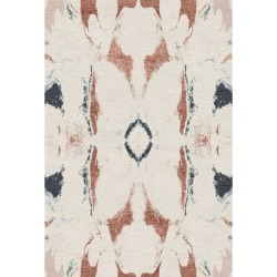 Modern Contemporary Area Rug In Ivory Red, Handmade Of Silk And Wool,