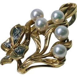 Gold Butterfly Pendant Pearl Diamond