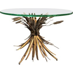 20th Century Italian Sheaf Of Wheat Gilt Metal Drinks Table, Glass Top