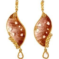 20 Karat Yellow Gold Affinity Earrings With Rutilite Quartz
