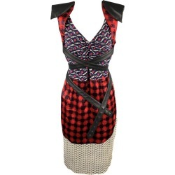 Michel Klein Size S Multi-color Patchwork Mixed Fabrics Silk Belted Sheath Dress found on MODAPINS from 1stDibs for USD $158.00