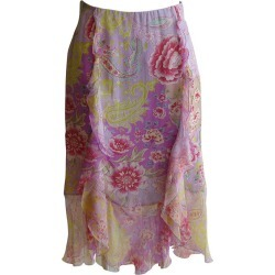 Emanuel Ungaro Silk Floral Ruffle Skirt found on MODAPINS from 1stDibs for USD $175.00