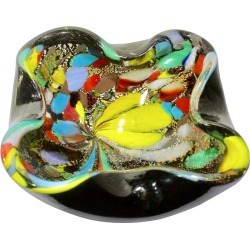 Murano Art Glass Bowl Black Shell, Metals And Bright Colors, Attributed To Avem