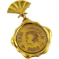 Karl Lagerfeld Vintage Massive Gold Toned Wax Seal And Fan Brooch found on Bargain Bro India from 1stDibs for $620.90