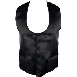 Dolce & Gabbana Chest Size 42 Black Silk / Wool Trim Round Collar Vest found on Bargain Bro India from 1stDibs for $261.60