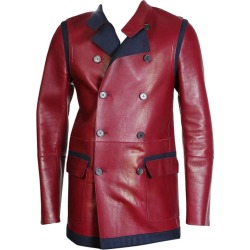 Tommy Hilfiger Red Leather And Navy Wool Coat found on Bargain Bro Philippines from 1stDibs for $650.00